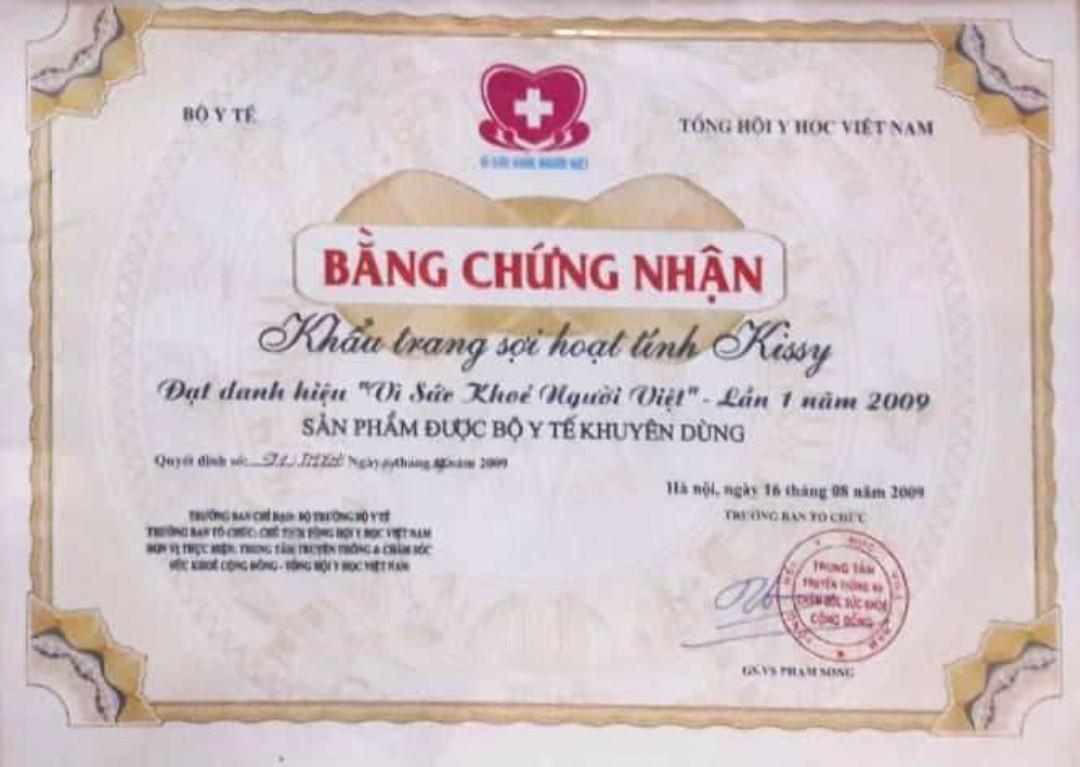 Bằng chứng nhận Vì sức khỏe người Việt 2009